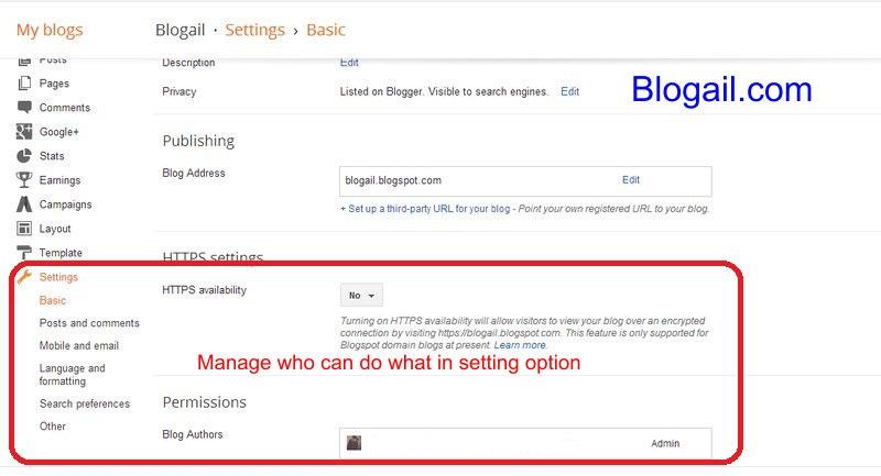 Setting option Blogspot